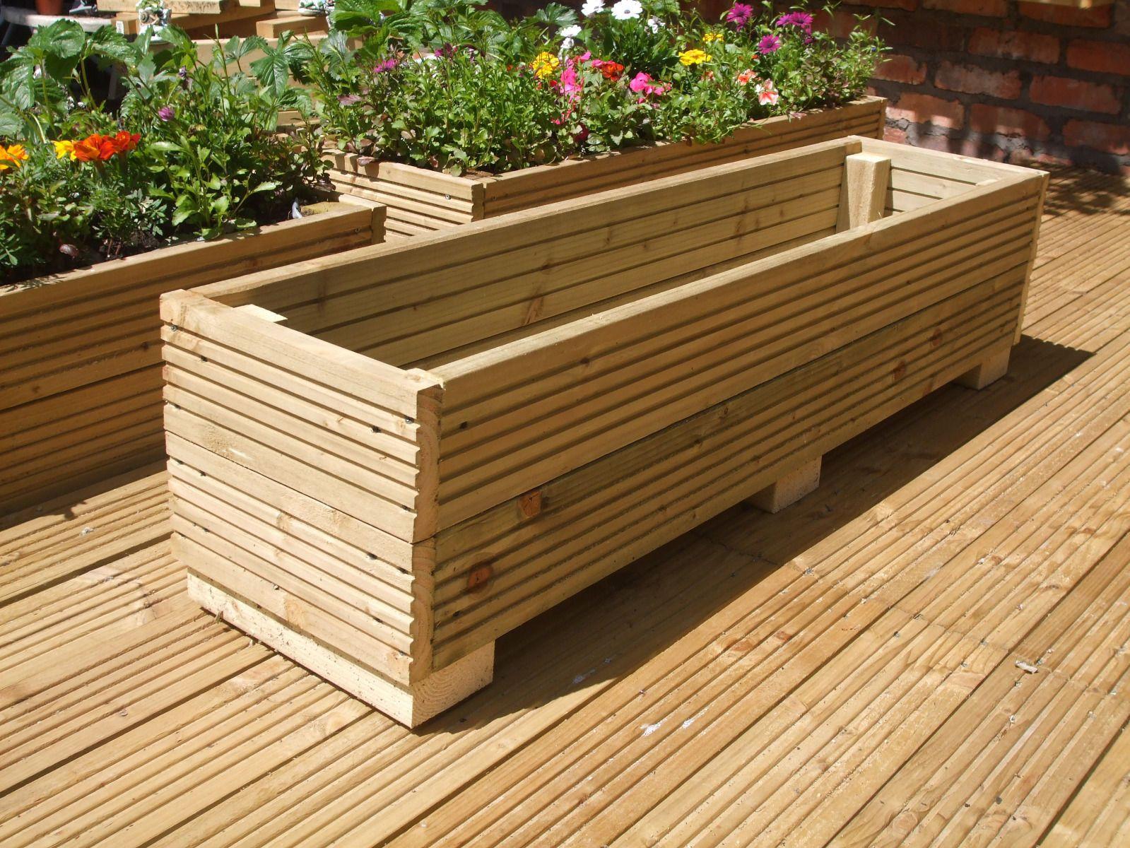 4ft Long Wooden Decking Plantertroughwindow Box 122cm X 30cm 30cm pertaining to dimensions 1599 X 1200