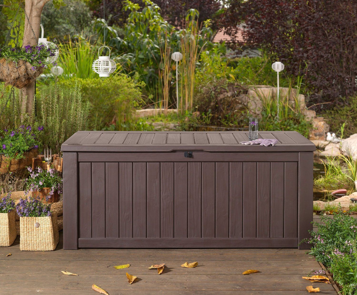 Garden Storage Bench Box Large 570l Keter Resin Furniture Lockable in measurements 1500 X 1238