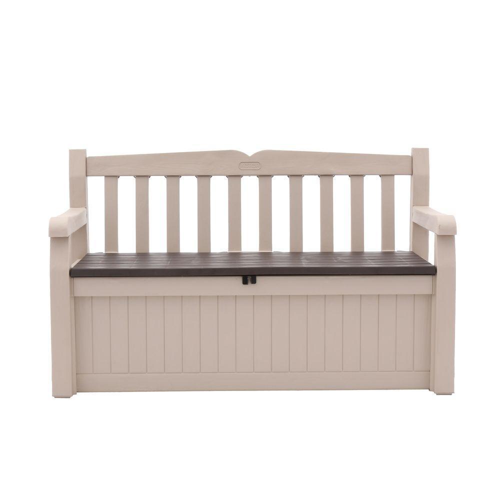 Keter Eden 70 Gal Outdoor Garden Patio Deck Box Bench In Beige And inside proportions 1000 X 1000
