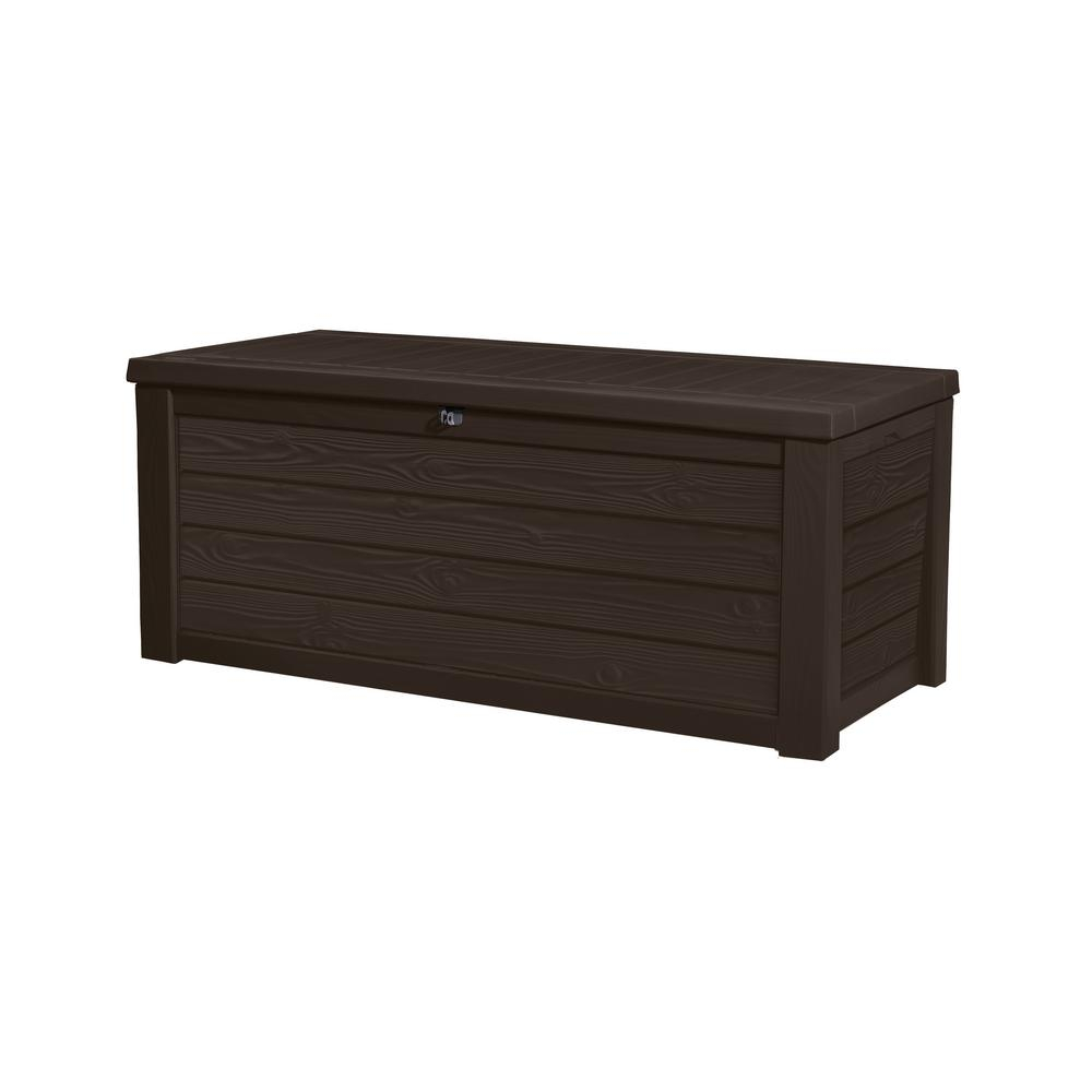 Keter Westwood 150 Gal Resin Deck Box In Espresso Brown 231666 throughout proportions 1000 X 1000