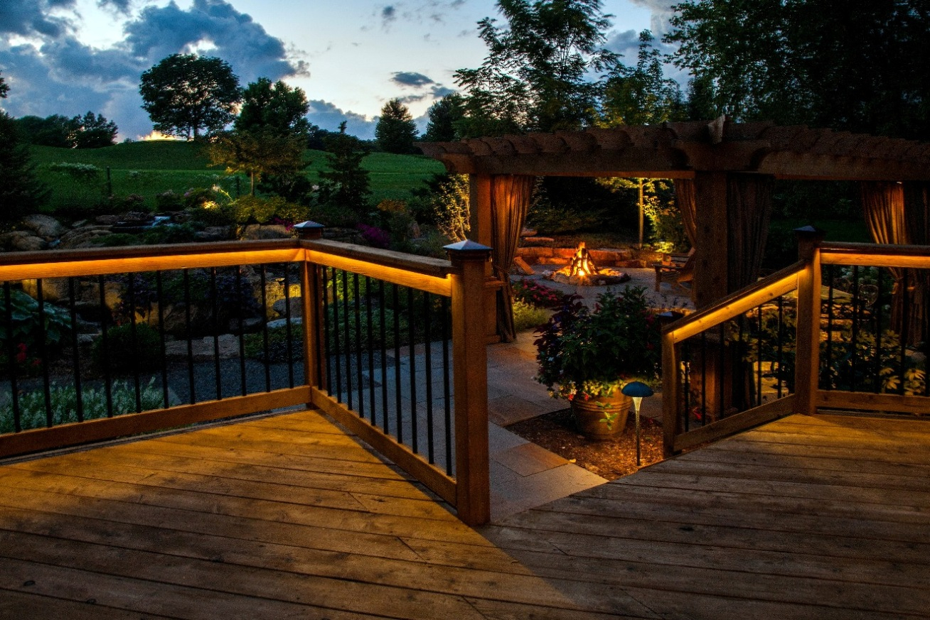 Lighting Ideas Deck Lighting Idea With Rope Lights Under Pergola inside proportions 1308 X 873