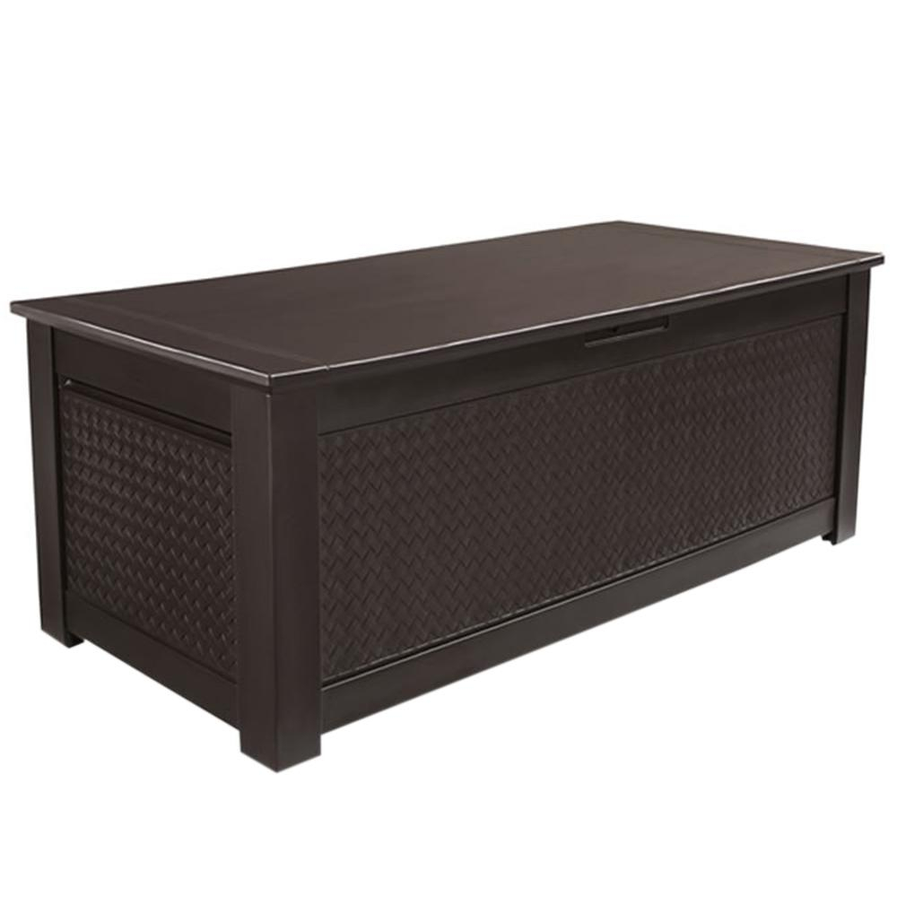 Rubbermaid Patio Chic 136 Gal Resin Basket Weave Patio Storage intended for size 1000 X 1000