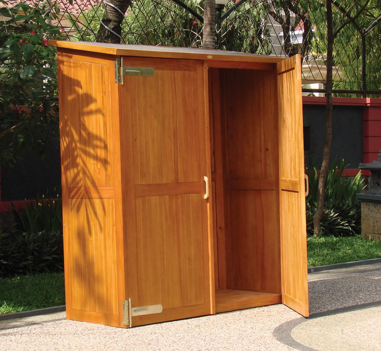 Wooden Outdoor Storage Cabinets With Doors Outside Storage intended for size 1296 X 1195