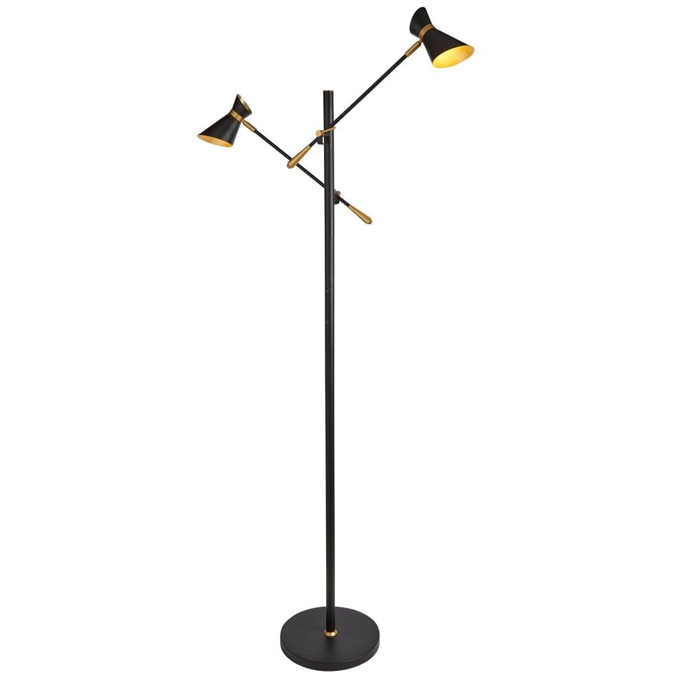 5962 2bg Diablo 2 Light Led Spot Light Floor Lamp In Matt Black Finish With Gold Trim Gold Inner Shades with regard to size 1000 X 1000
