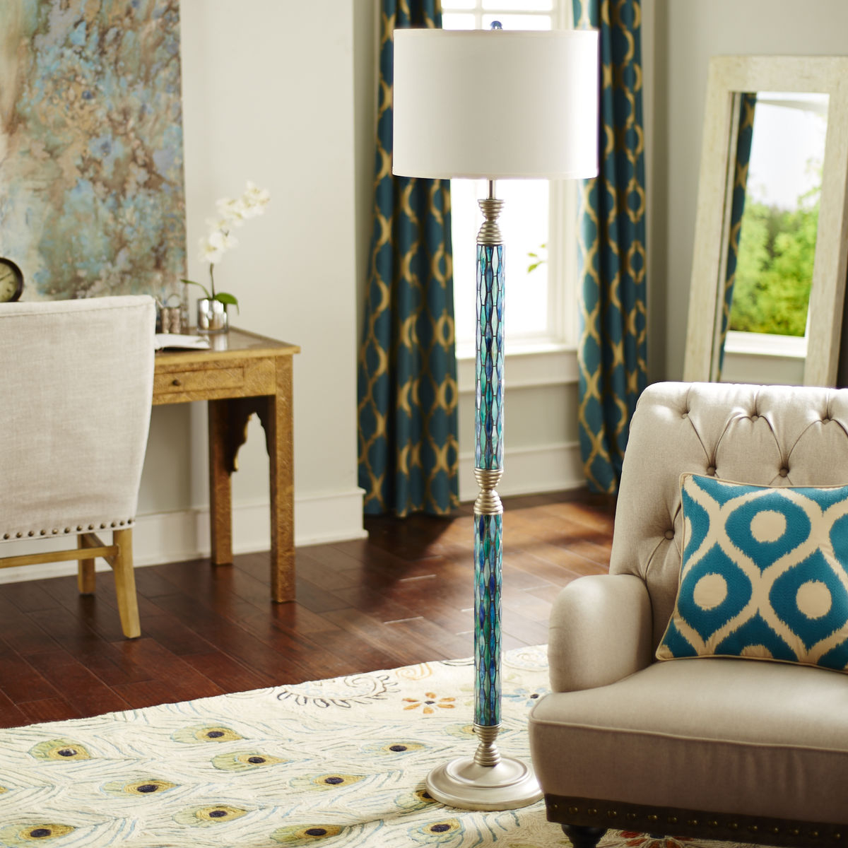 Helena Mosaic Floor Lamp Blue Goodglance regarding measurements 1200 X 1200