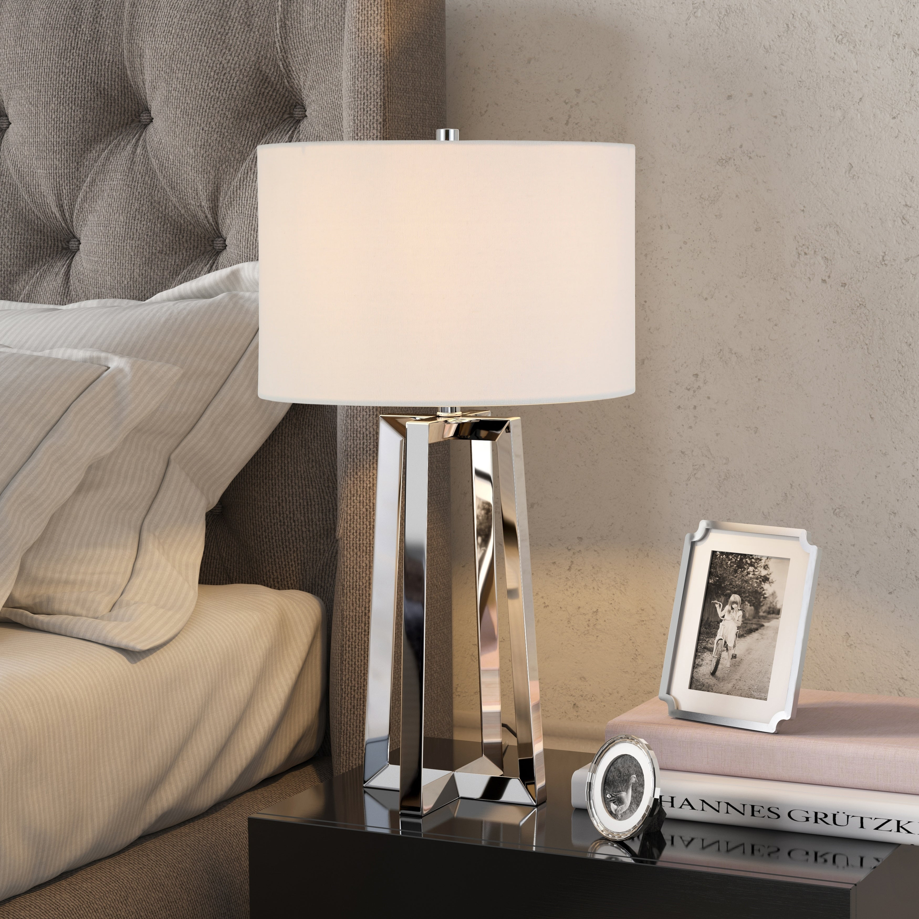 Helena Silver Nickel Table Lamp With Linen Shade in sizing 3500 X 3500