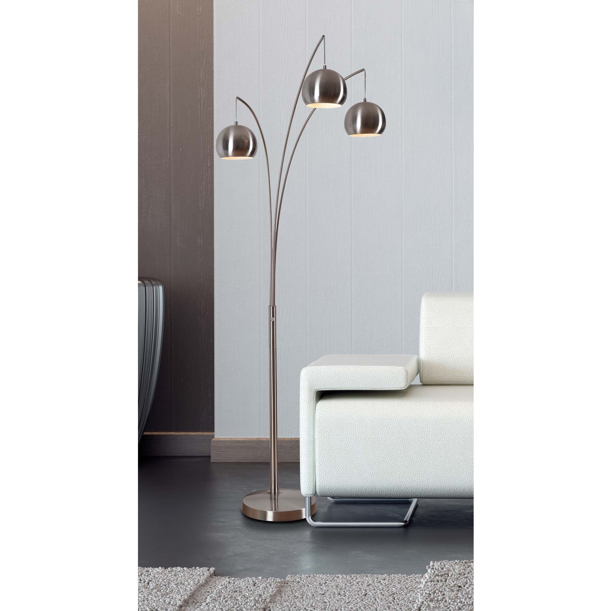 Noah Brushed Steel 84 Inch Arc Floor Lamp intended for size 1944 X 1944