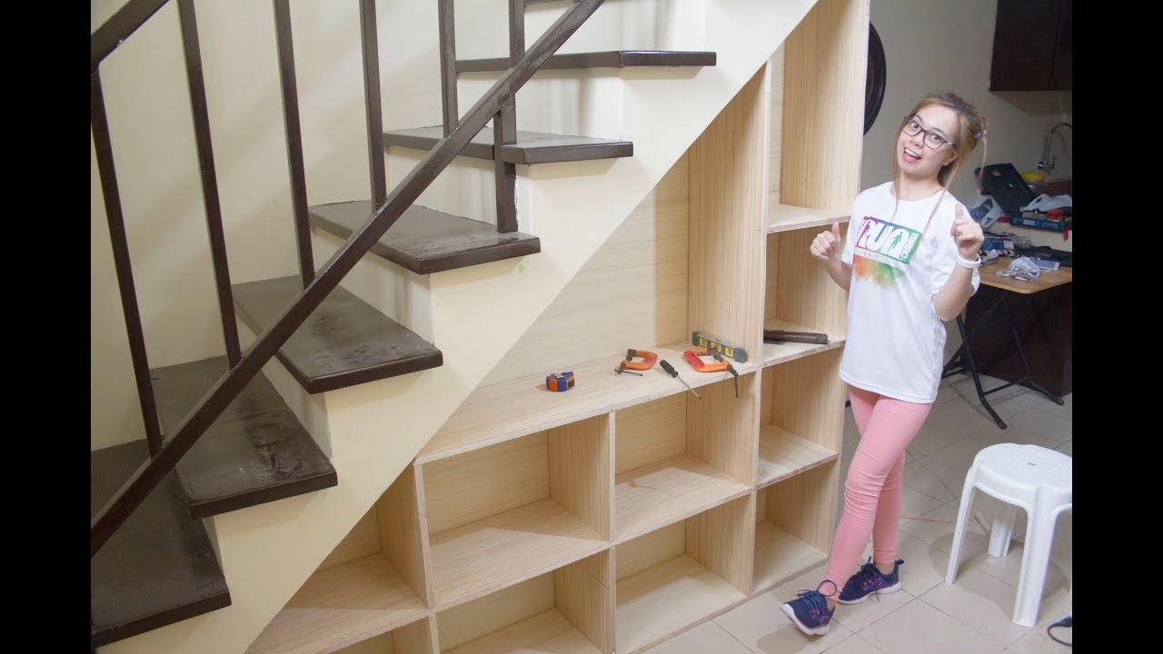 Building Shelves Under The Staircase With Storage pertaining to dimensions 1280 X 720