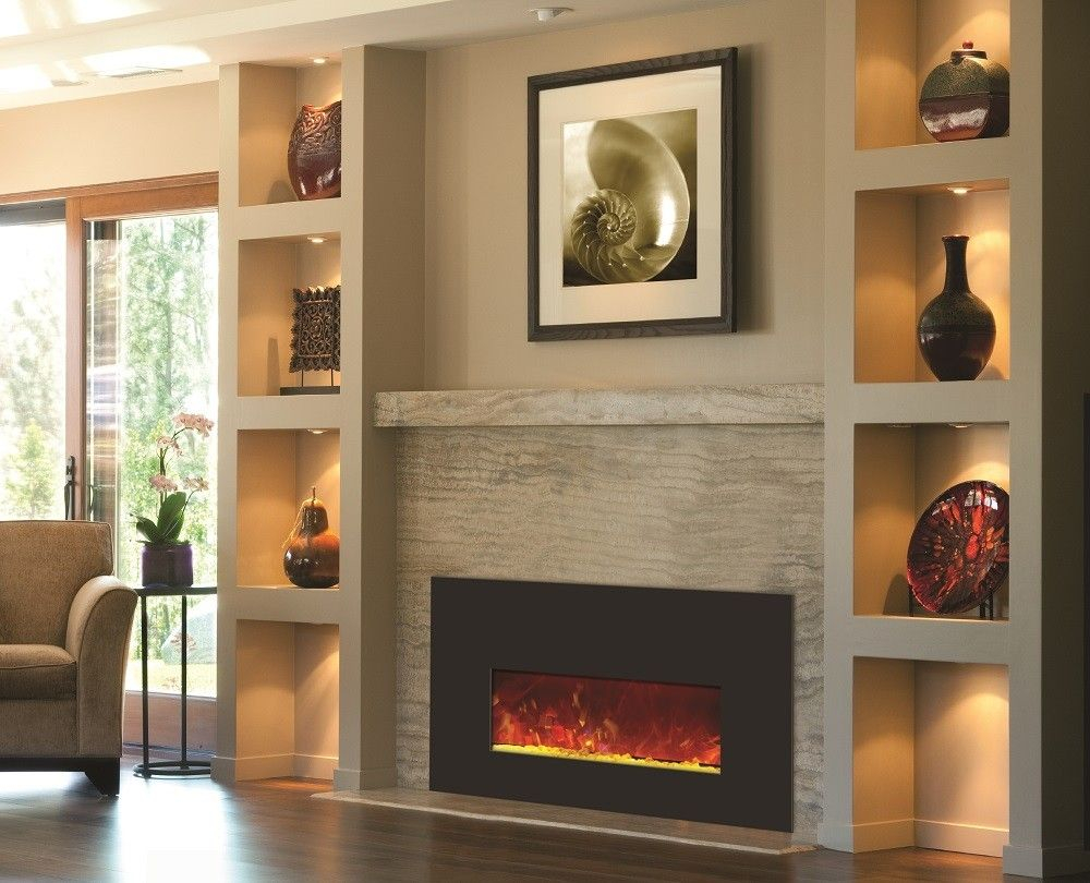 Built In Bookshelves With Electric Fireplace Stone Wall intended for sizing 1000 X 810