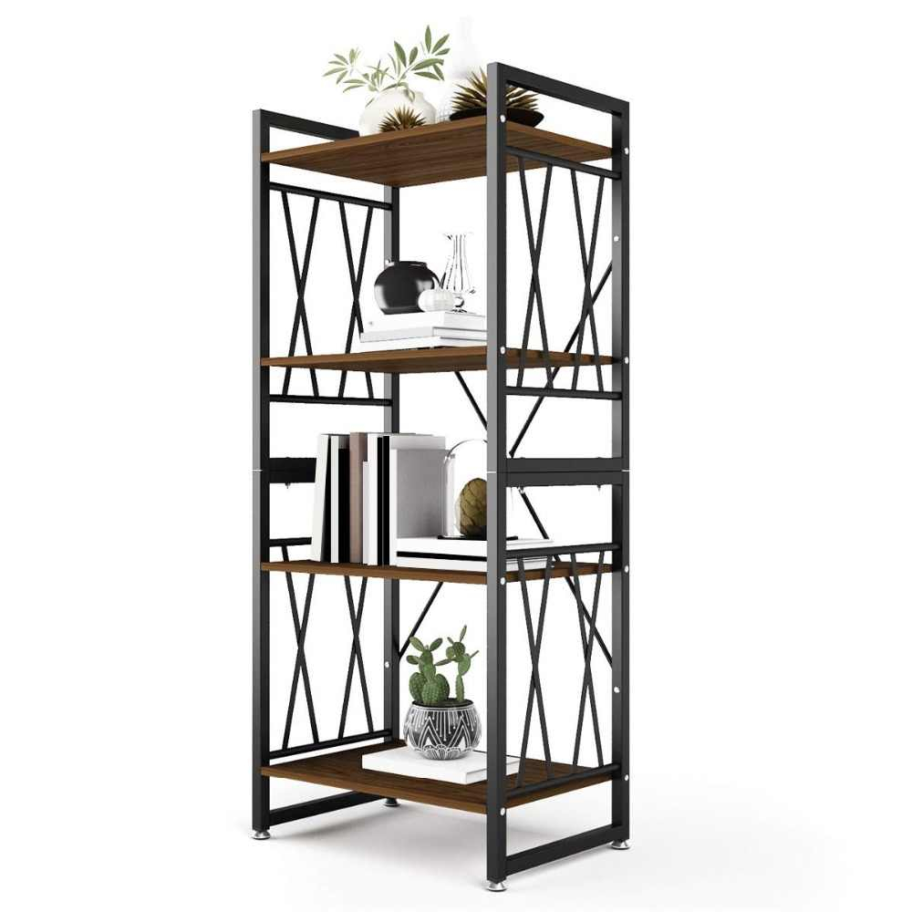 Dewel 4 Shelf Bookshelf Metal And Wood Bookcase 55 High throughout sizing 1000 X 1000