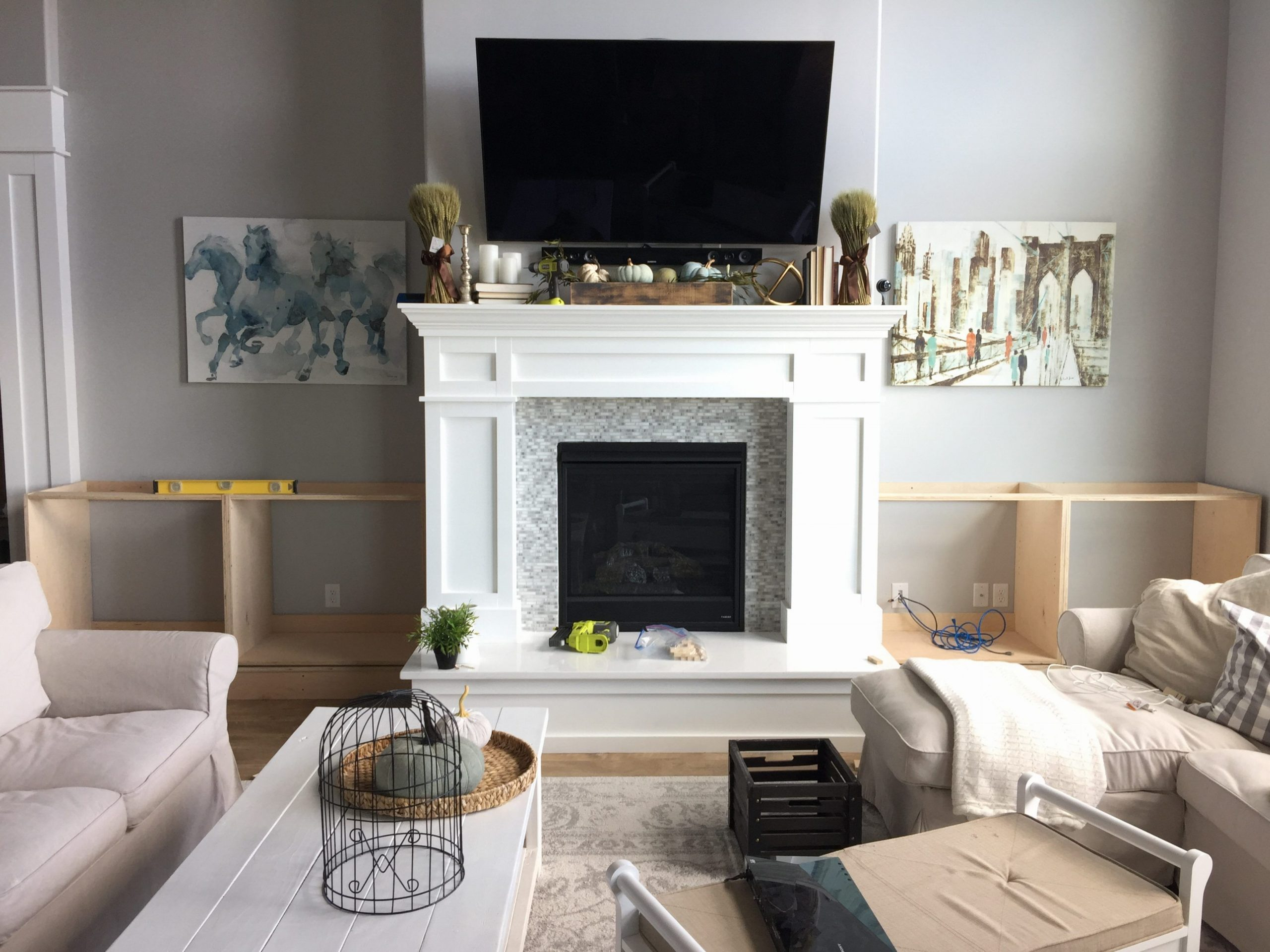Diy Built In Cabinets Around The Fireplace Part 1 within sizing 3263 X 2447