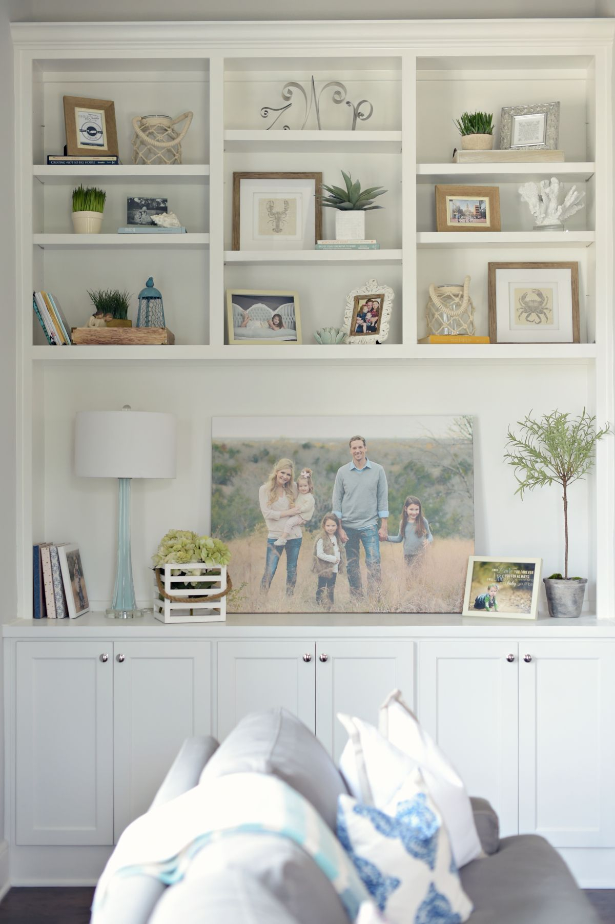 Family Photo On Stretched Canvas In Built In Bookshelves in size 1200 X 1803