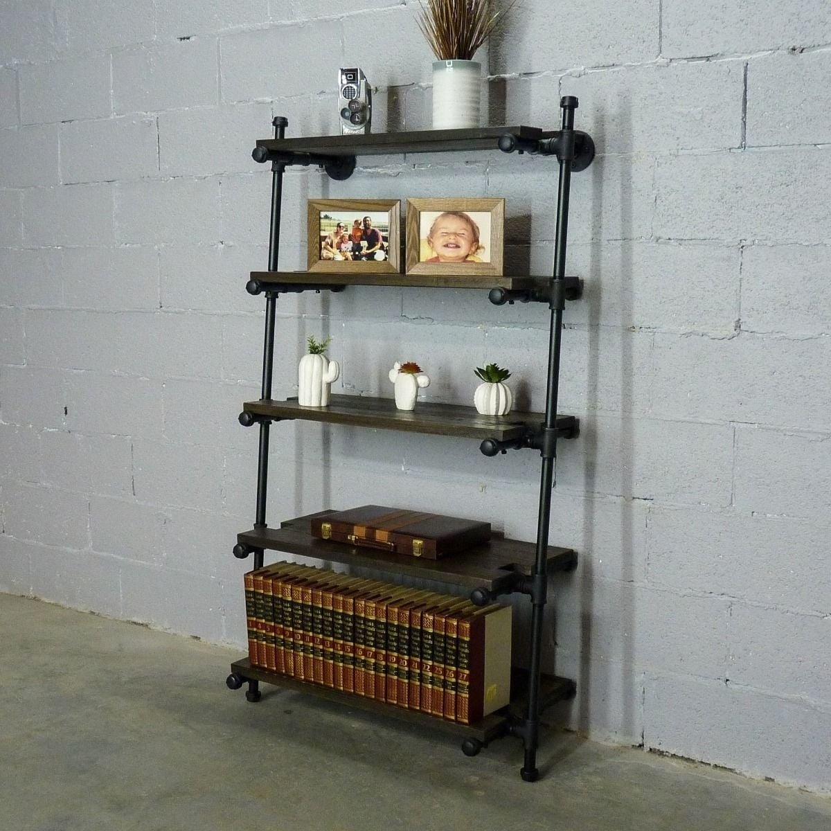 Furniture Pipeline Orlando Industrial 60 Tall Leaning Bookcase pertaining to size 1200 X 1200