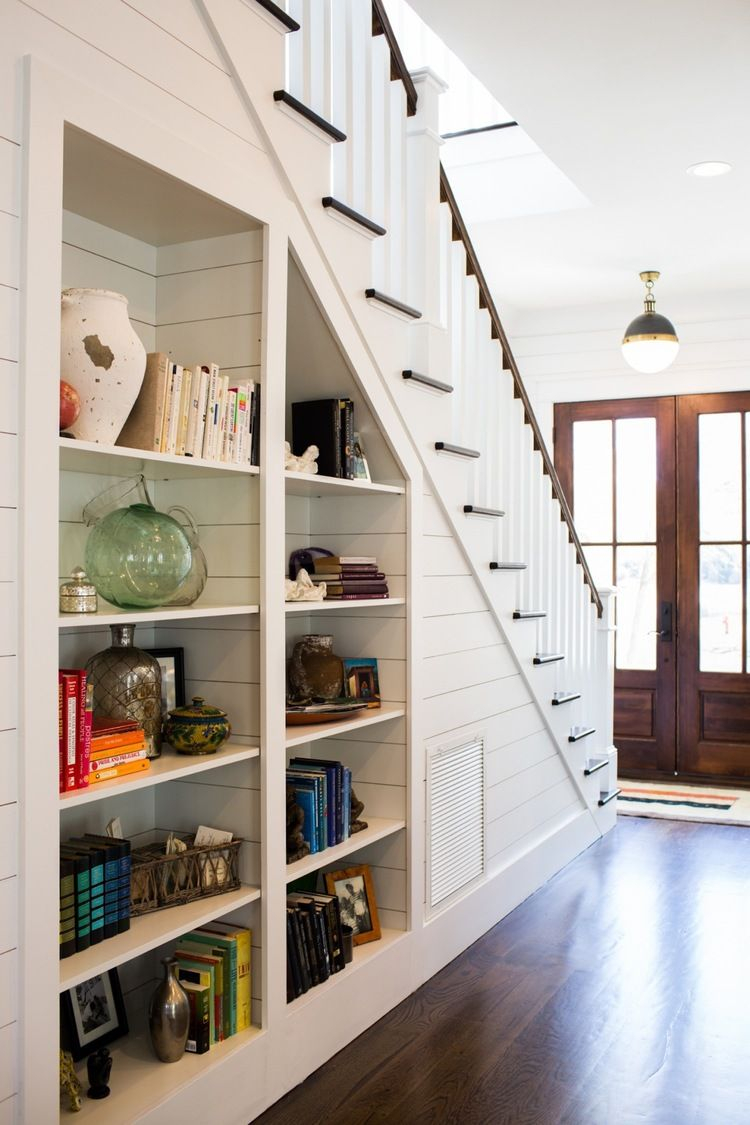 Love The Built In Bookshelves Under The Staircase Such A throughout sizing 750 X 1125