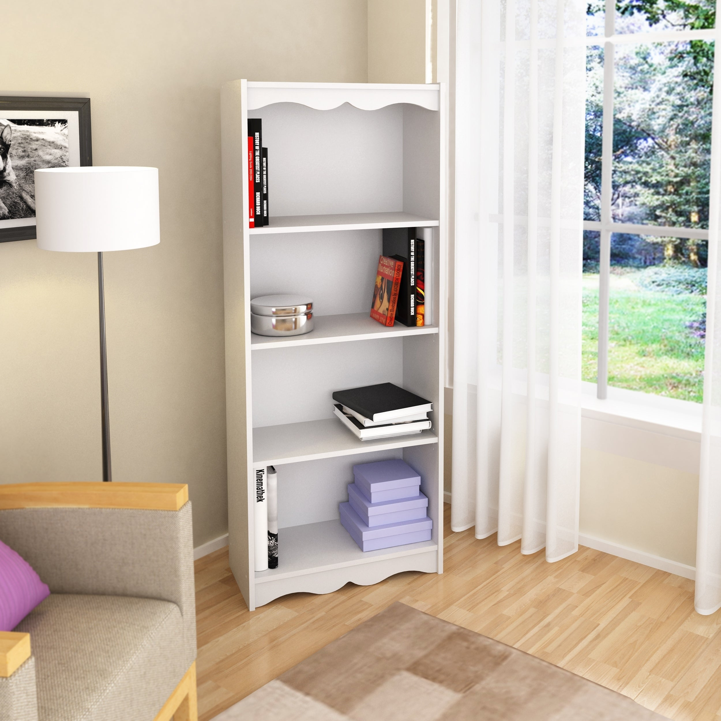 Porch Den Alma Frost White 60 Inch Bookcase pertaining to dimensions 2500 X 2500