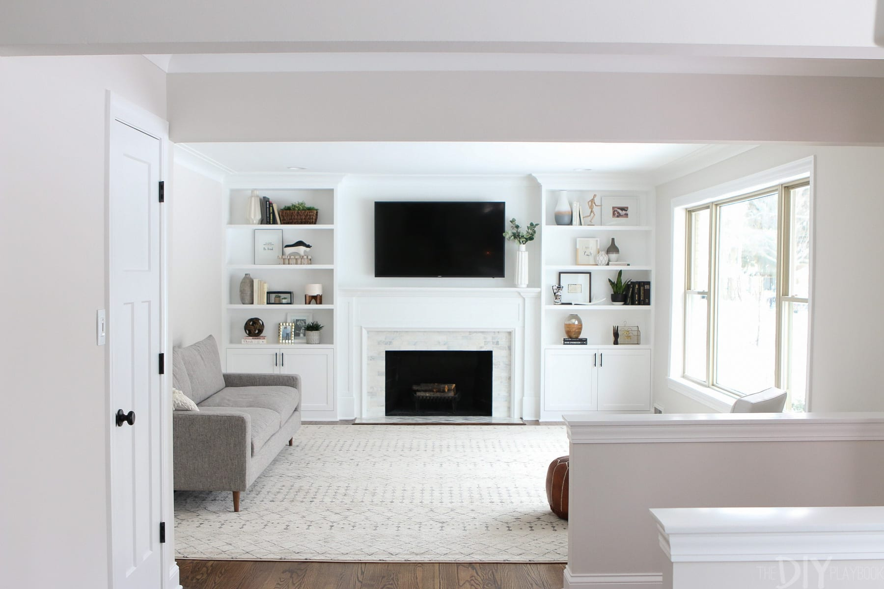 White Built Ins Around The Fireplace Before And After The intended for size 1800 X 1200