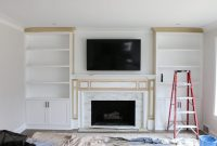 White Built Ins Around The Fireplace Before And After The regarding proportions 1800 X 1200