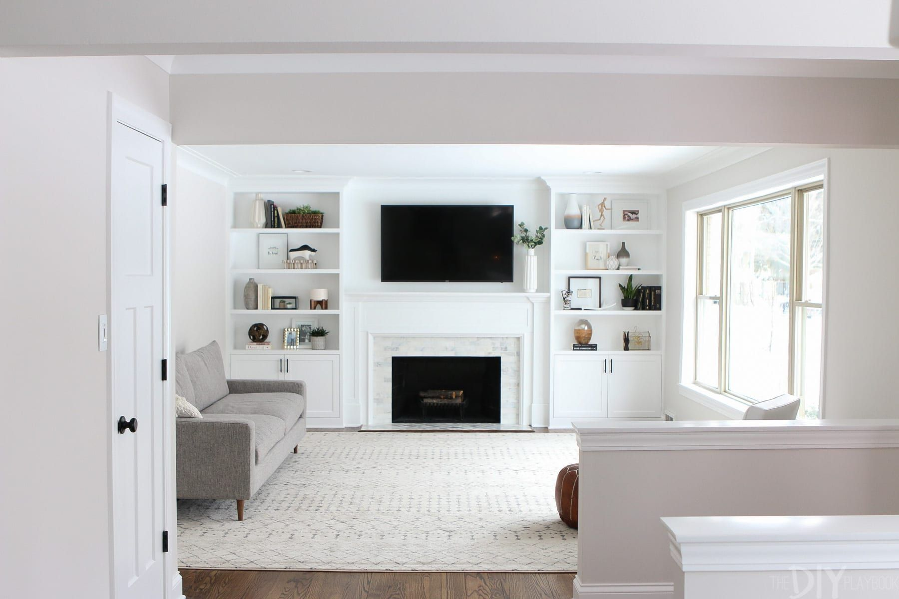 White Built Ins Around The Fireplace Before And After throughout measurements 1800 X 1200